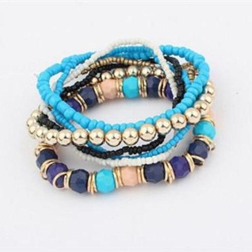Bohemian Multilayer Acrylic Beads Bracelet Bangle