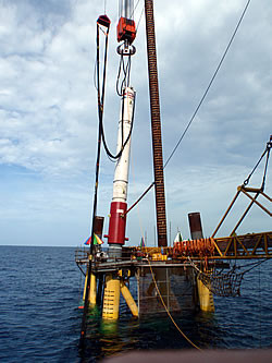 Piling on jack-up barge