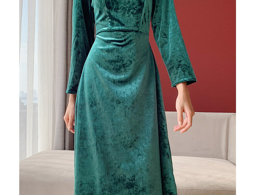 Ohara Velvet Dress (Green)