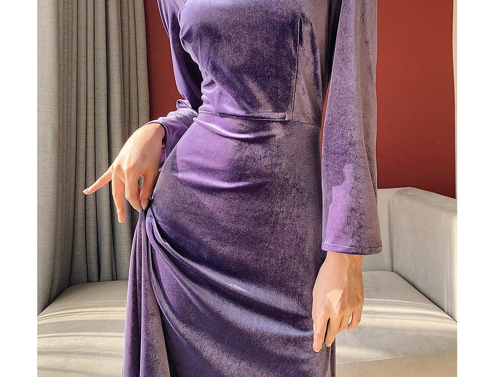 Ohara Velvet Dress (Purple)