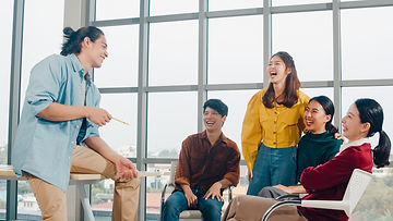 College students having fun in a meeting