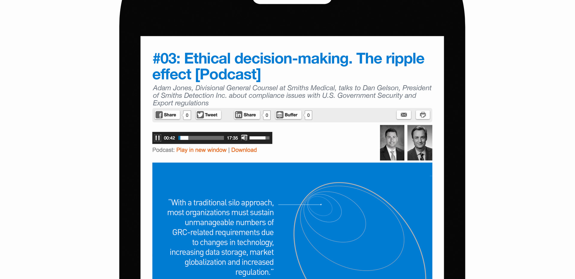 Podcast content for ethics