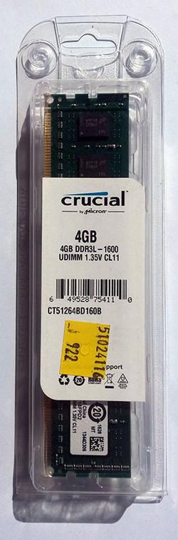 Crucial DDR3 4GB 1600 Ref CT51264BD160B