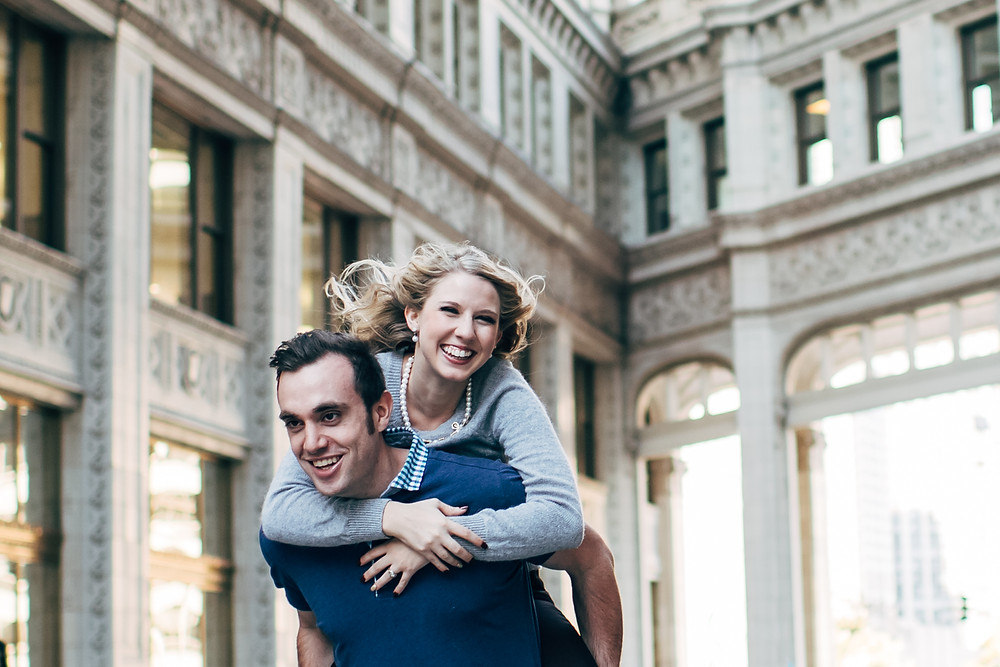 fall downtown engagement session