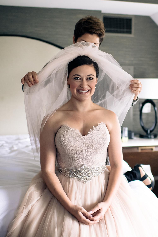bride prep, pink wedding dress
