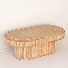 Oval Cane Coffee Table
