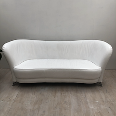 White Leather 3 Seater