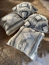 XL Grey Tufted Floor Cushion
