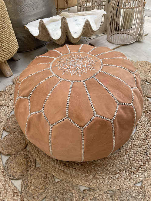 Clay Leather Pouf