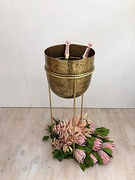 Large Gold Ice bucket on Stand