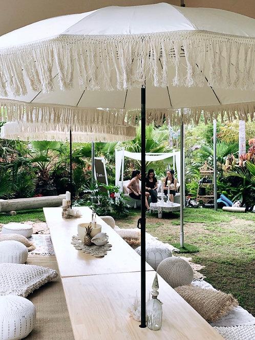 White Fringe Umbrella