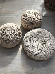 Natural Knitted Pouf