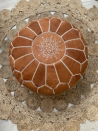 Terracotta Leather Pouf