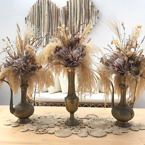 Tall Brass Dried Florals