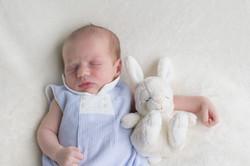 newborn baby with teddy