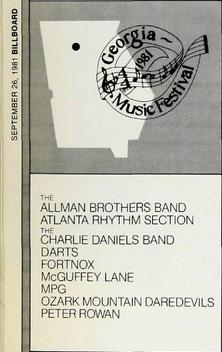 Billboard ad for 1981 Georgia Music Festival