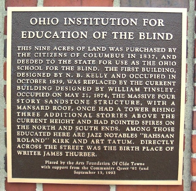 Historical marker at the original Blind school, 240 Parsons Ave.