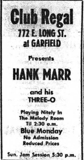 Ad for Hank Marr at Club Regal from Ohio Sentinel