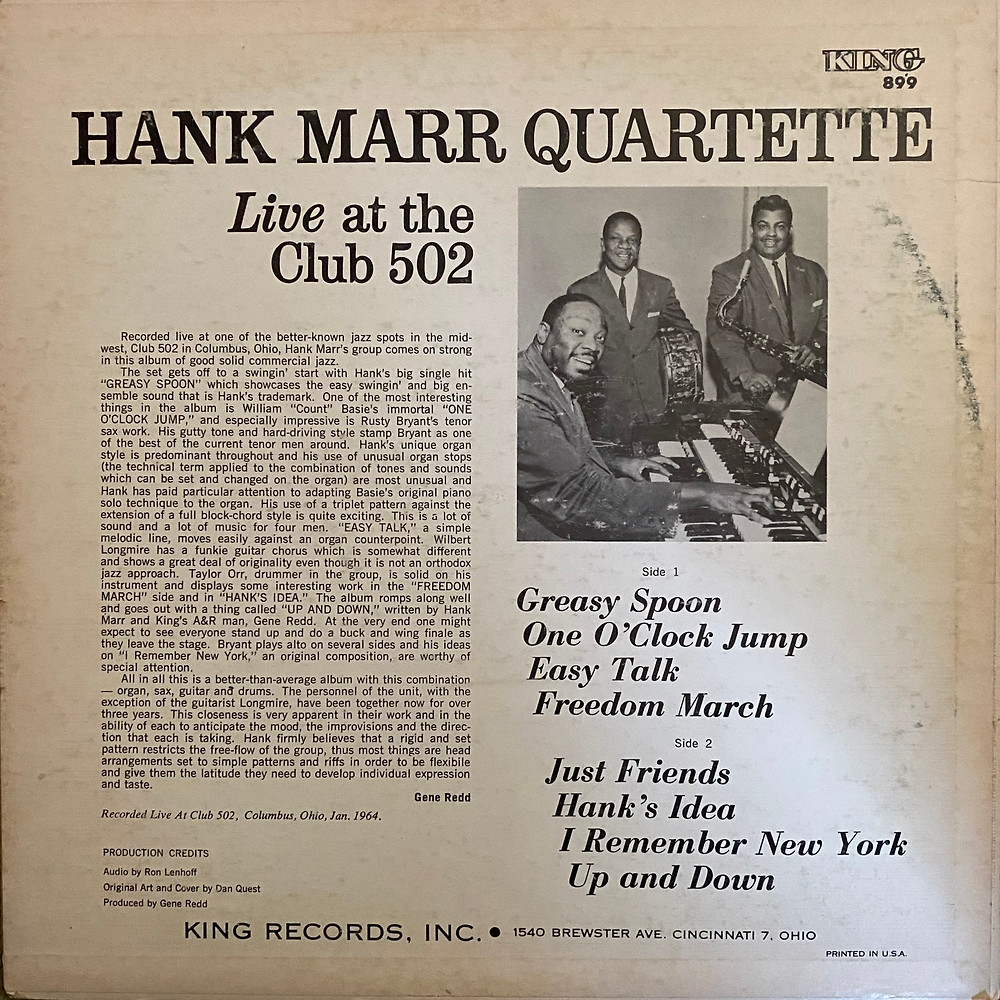 Back cover of Live At The Club 502