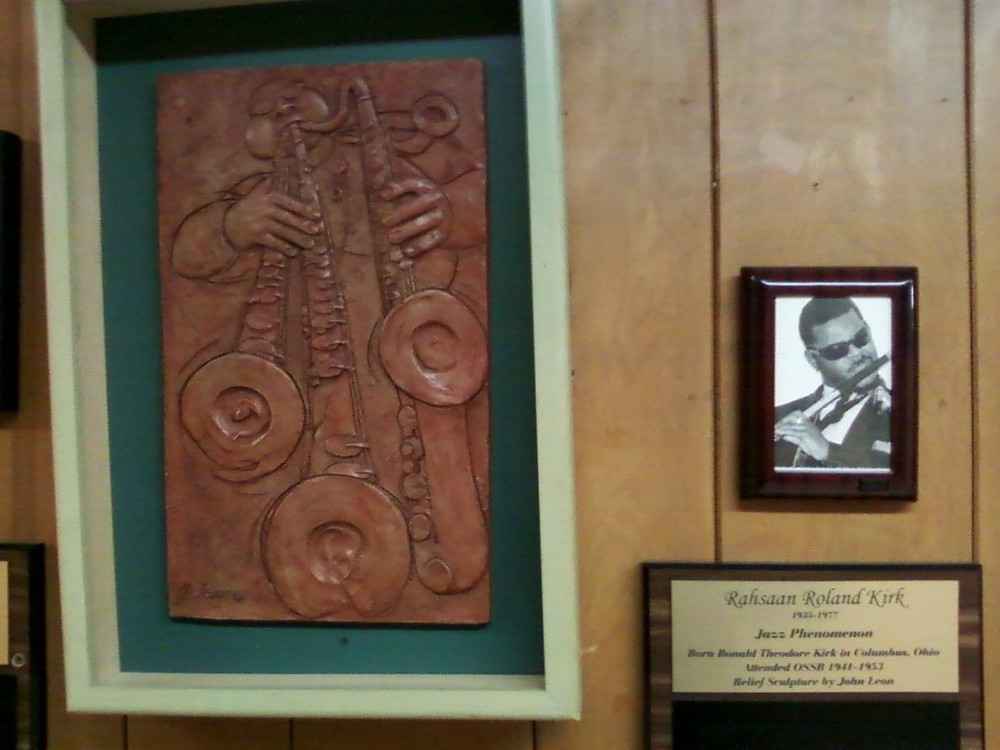 Plaque and relief in the Ohio State School for the Blind