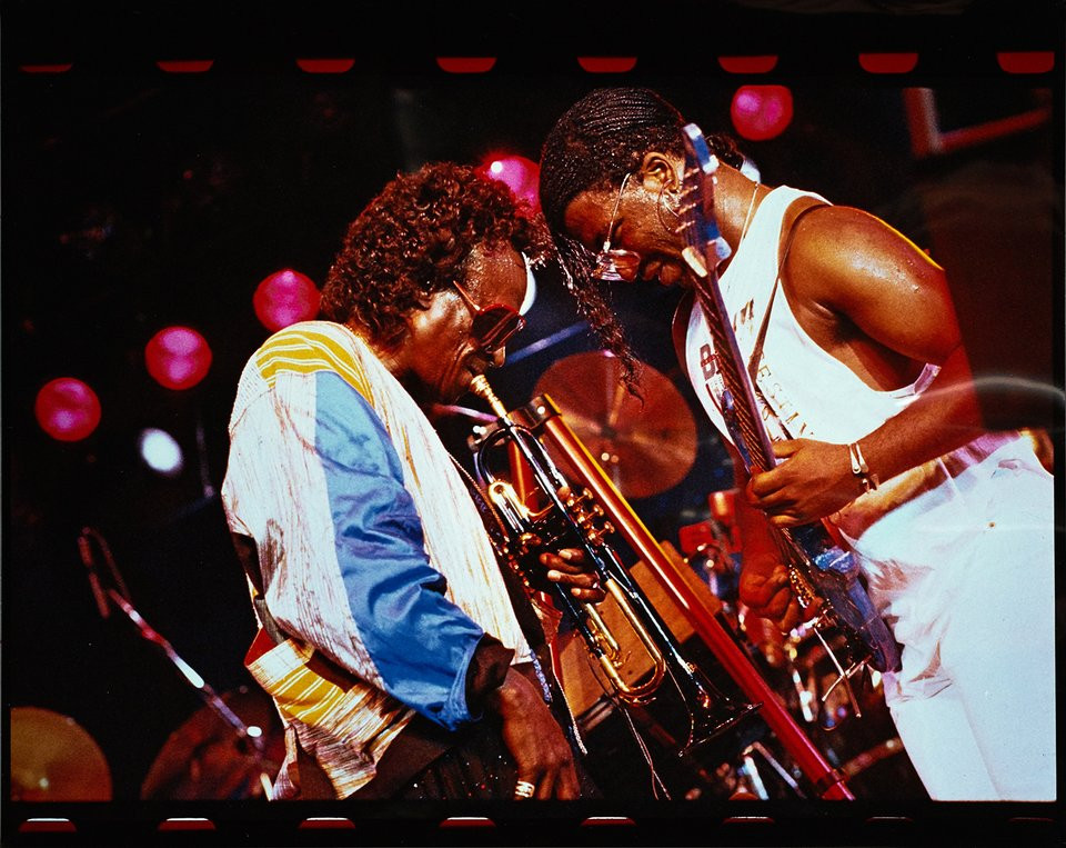 """Miles Davis and """"Foley"""" McCreary in concert at the Montreux Jazz Festival, 7 July 1988"""