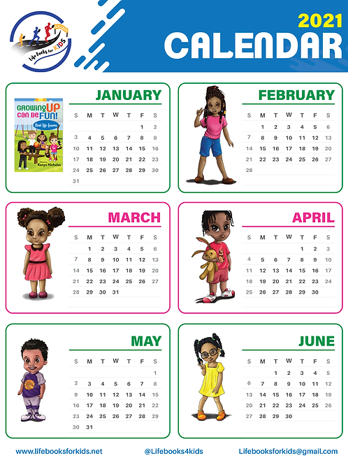 2-Sided Calendar of Characters From All Life Books Series