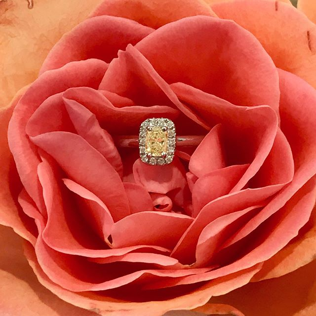 Fancy yellow cushion cut diamond in a be