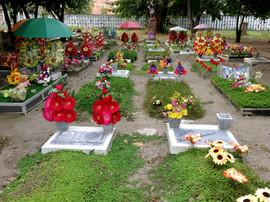cementerio con jardines y florers