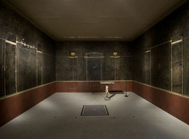 Roman, Pompeian. Wall paintings on black ground: from the imperial villa at Boscotrecase, last decade of the 1st century B.C Fresco.  MET Collection