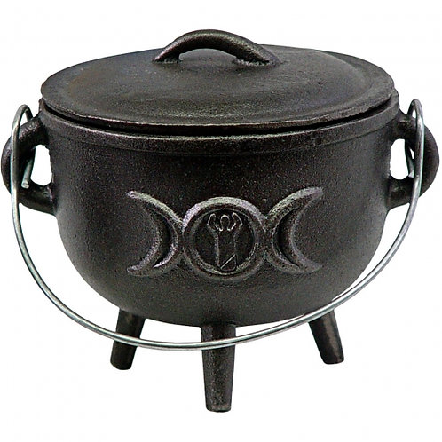 "Cast Iron Cauldron -4.5""DI. Triple Goddess"