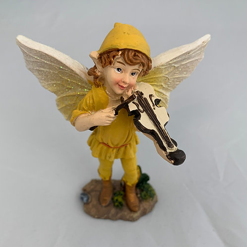 Yellow Fiddle Fairy Figurine