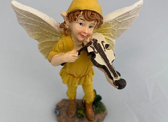 Yellow Fiddle Fairy Figurine