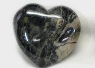 Puffy Heart - Jasper, Silver Leaf