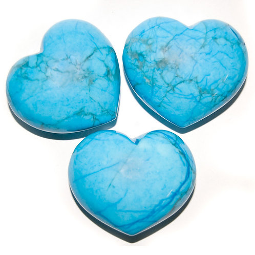 Puffy Heart - Howlite, Blue