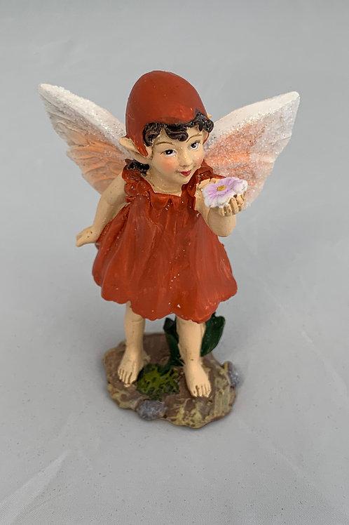 Red Flower Fairy Figurine