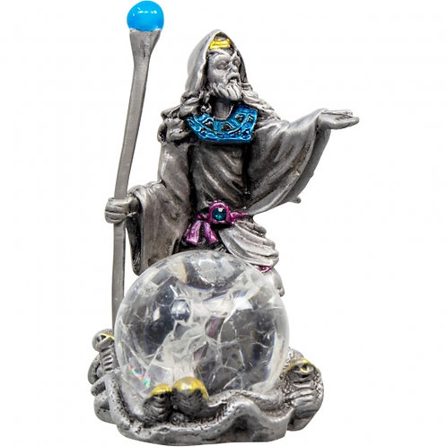 Pewter Wizard w/ Crackled Crystal Ball Figurine