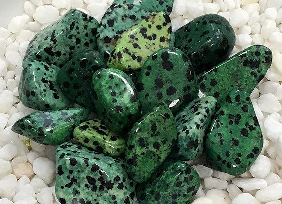 Jasper, Dalmatian Green (Tumbled)
