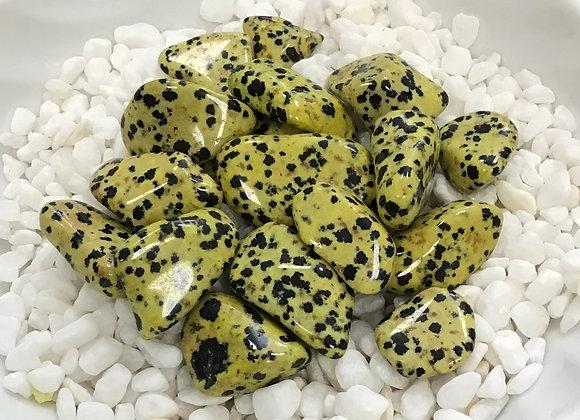 Jasper, Dalmatian Yellow (Tumbled)