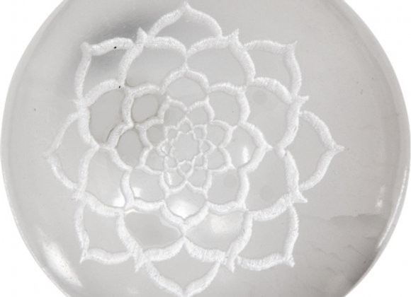 Selenite Etched Sphere - Lotus