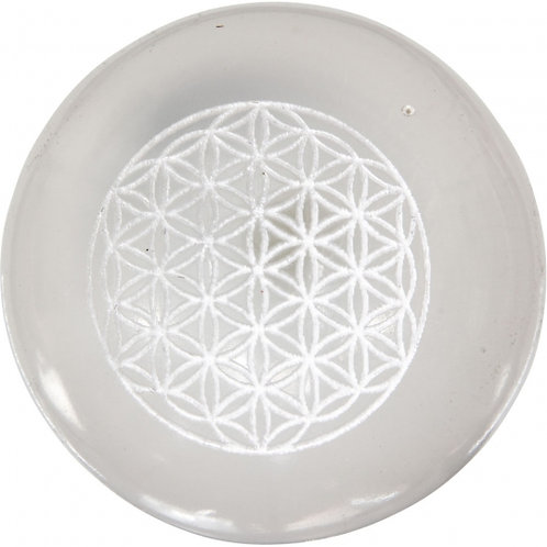 Selenite Etched Sphere - Flower of Life