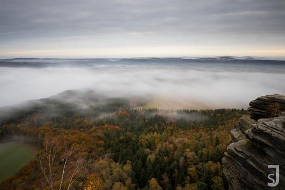 Ziehender Nebel im Elbsandsteingebirge