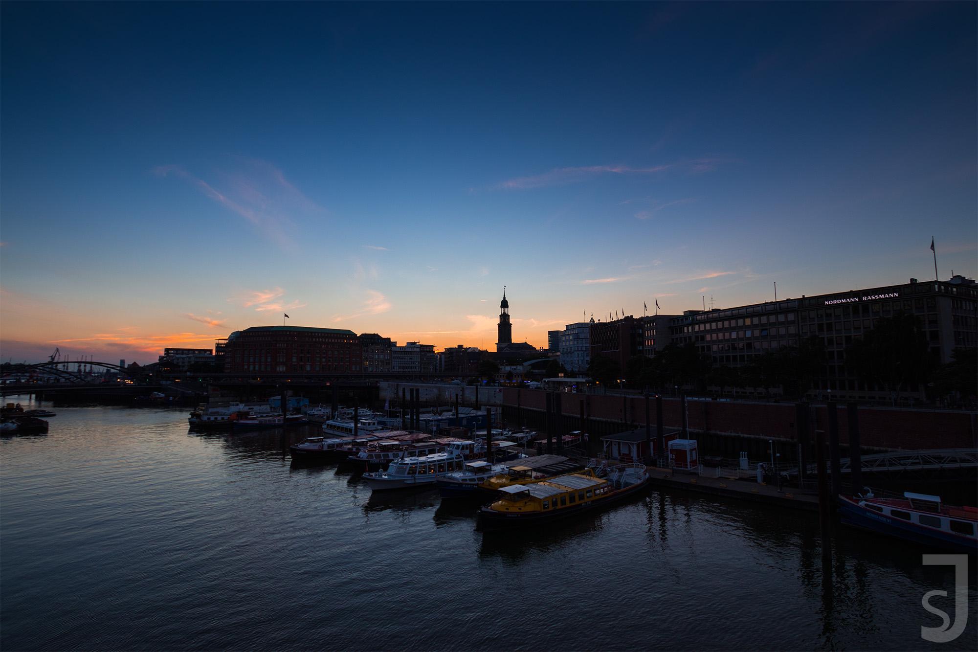 Sonnenuntergang Hafen, Hamburg