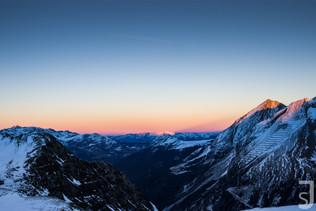 Winterwelt im Sonnenuntergang