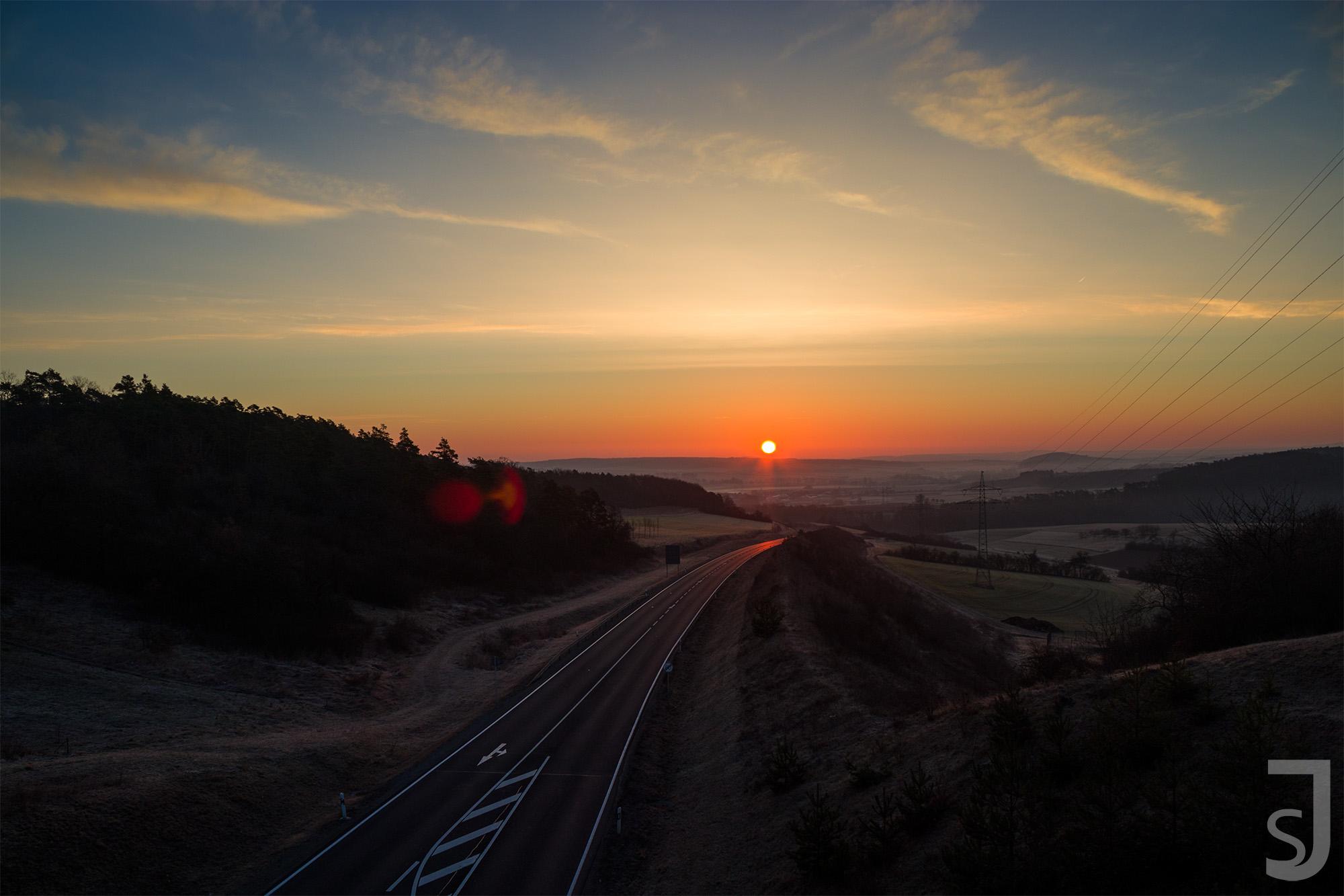 Sonnenuntergang Autobahnzubringer (mittig), Bad Neustadt