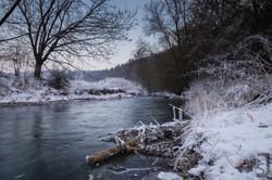 Fluss im Winter, Saale, Unterfranken
