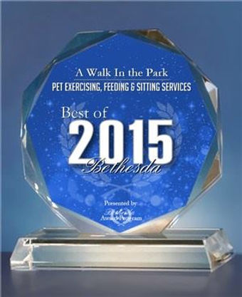 A Walk in the Park - Best of Bethesda, Exercising, Feeding & Pet Sitting Services 2015