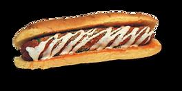 Hot dog with Italian seasoning, buffalo sauce, and ranch dressing