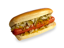 Hot dog with relish and chopped onion