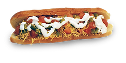 Hot dogs with shredded cheese, chopped tomatoes, and ranch sauce