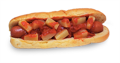 Hot dog with pine apple chunks and hot sauce